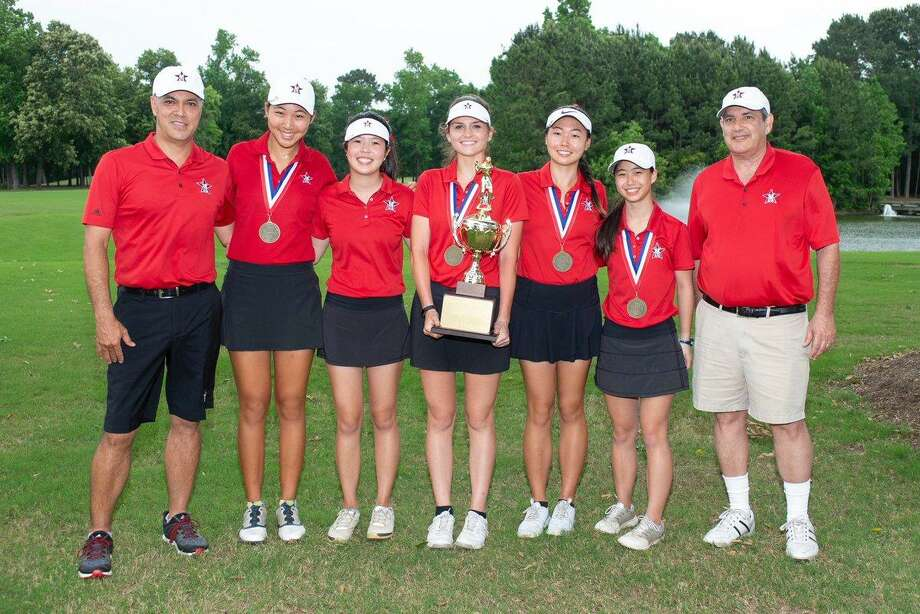 The St. John's girls golf team won its third consecutive Southwest Preparatory Conference championship with a two-round score of 591, shooting the only sub-300 rounds of the tournament. The Mavericks were represented by Christine Wang, Ashley Yen, Denise Pan, May McCabe and Trinity Liaw. Photo: St. John's School / St. John's School