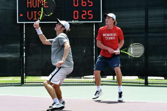 Houston Memorial's Cole Radner, left, and playing partner Drew Shuvalov work against Clement's Jaycee Lyeons and David Peters during their Class 6A Boys Doubles State Tennis Championship match at the George P. Mitchell Tennis Center on the campus of Texas A&M University in College Station on May 17, 2019.