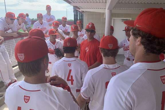 St. Thomas baseball coachAdam Massiatte addresses the Eagles during the TAPPS Division I state tournament May 14-15 at Crosby High School. The Eagles defeated Concordia Lutheran 1-0 in the semifinal before an 8-5 loss to Argyle Liberty Christian.