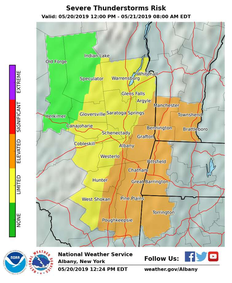 Severe thunderstorm risk for May 20, 2019, via the National Weather Service. Photo: National Weather Service
