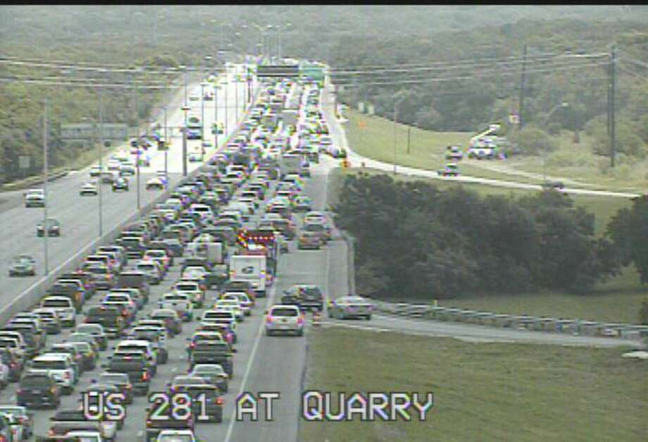 Traffic is backed up for miles on Highway 281 South due to gravel debris in the roadway, according to San Antonio police. Photo: Texas Department Of Transportation