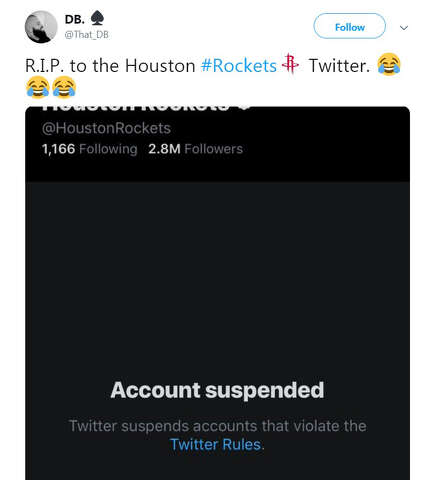b906f723ec5 <p>Some of the internet's reactions to the Houston Rockets' Twitter account  being