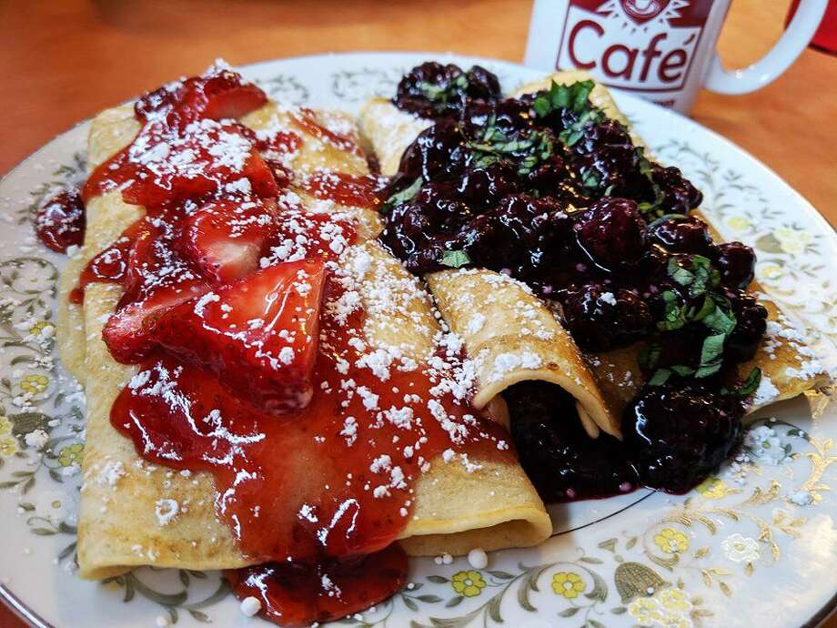 Strawberry and blueberry stuffed crepes from Comfort Café Photo: Comfort Café