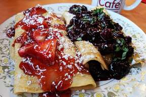 Strawberry and blueberry stuffed crepes from Comfort Café