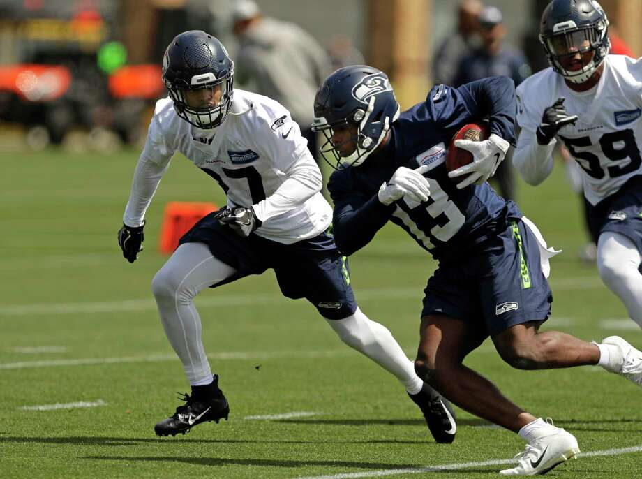 Seattle Seahawks strong safety Marquise Blair, left, closes in on wide receiver Floyd Allen, front, during NFL football rookie minicamp Friday, May 3, 2019, in Renton, Wash. (AP Photo/Ted S. Warren) Photo: Ted S. Warren, Associated Press / Copyright 2019 The Associated Press. All rights reserved.