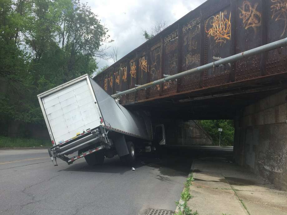 A portion of North Pearl Street in Albany was closed off to traffic Monday afternoon, May 21, after a truck got stuck under a train bridge. Photo: Albany Police