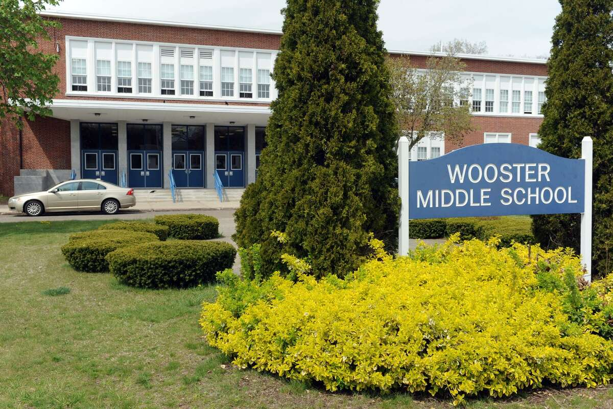 Exterior of Wooster Middle School, in Stratford, Conn. April 25, 2016.
