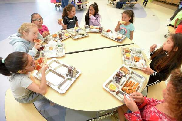 Second graders at New Lebanon School enjoy their lunches on May 17, 2019 in Greenwich, Connecticut. The school piloted metal trays this week, part of an effort by the Green Schools Committee to reduce waste during school lunch.