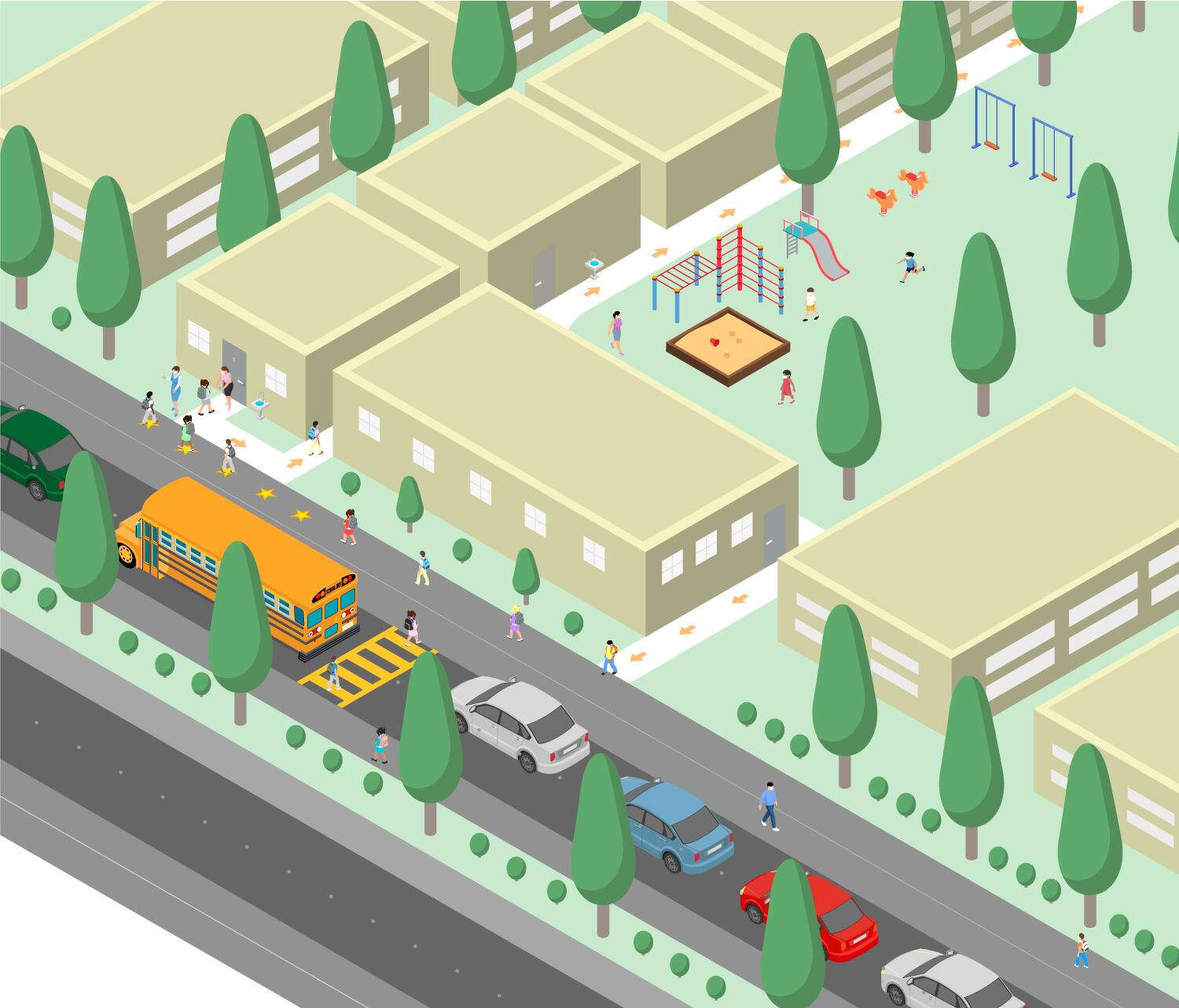 Drawing of school, with buses and cars parked out front.