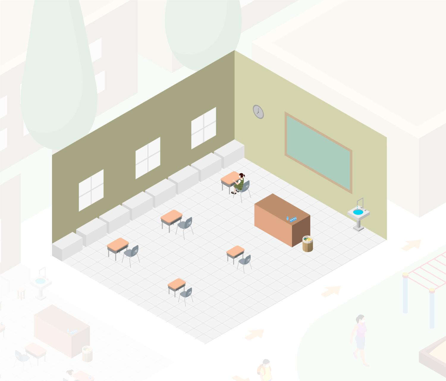 Drawing of an isolation room.