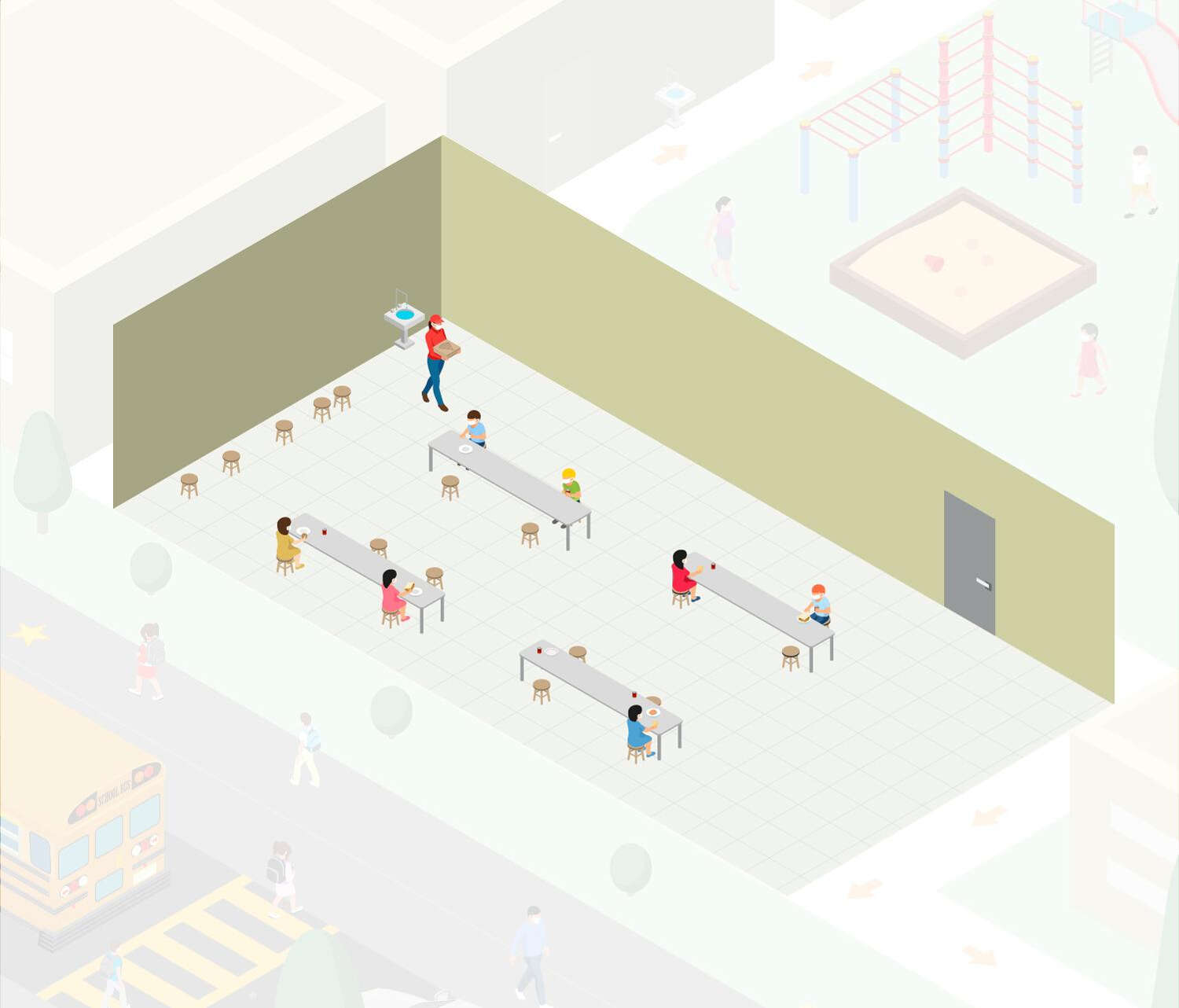 Drawing of school cafeteria with students sitting far apart.