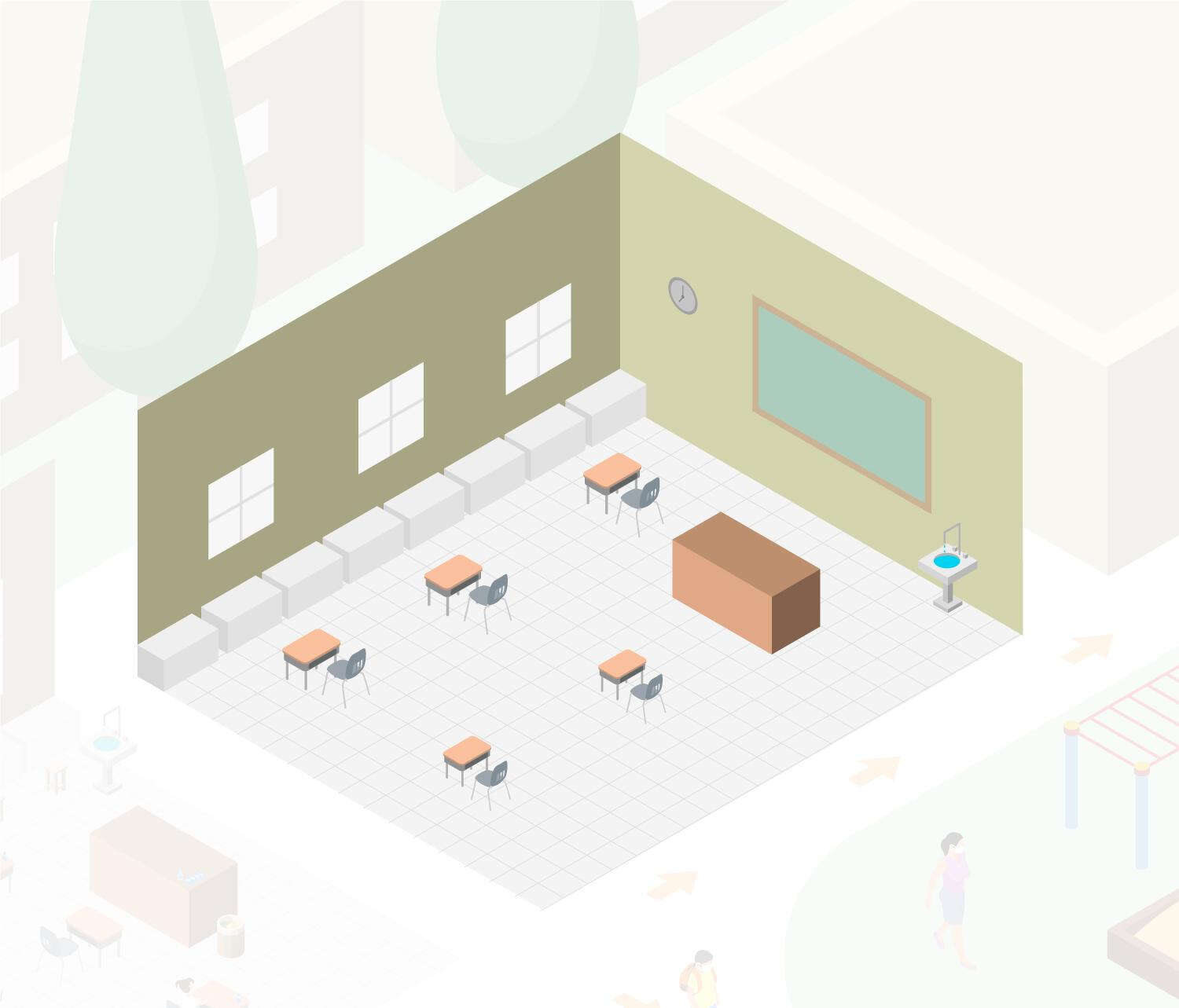Drawing of an empty classroom.