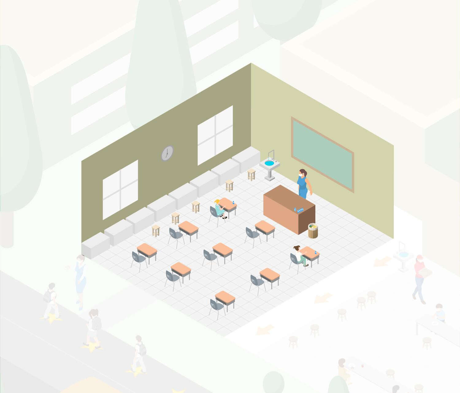 Drawing of school, with students sitting at desks 6 feet apart.
