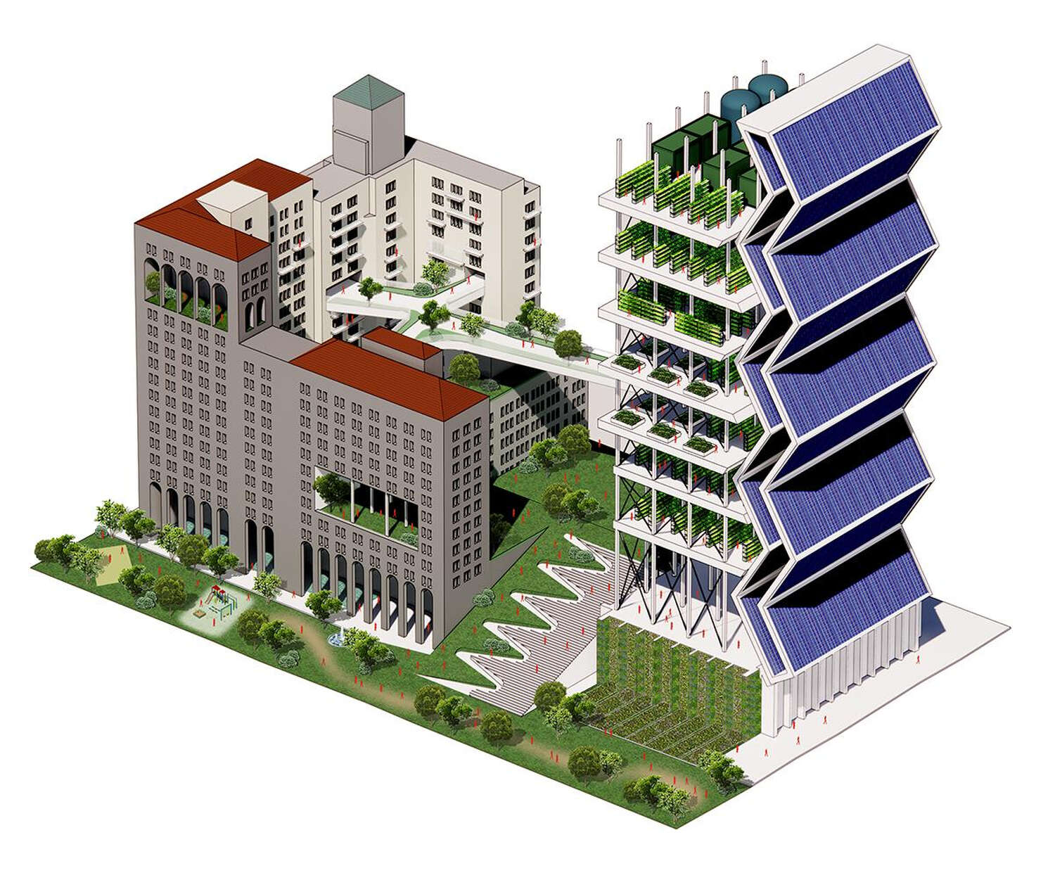 A rendering of the converted PG&E Building.