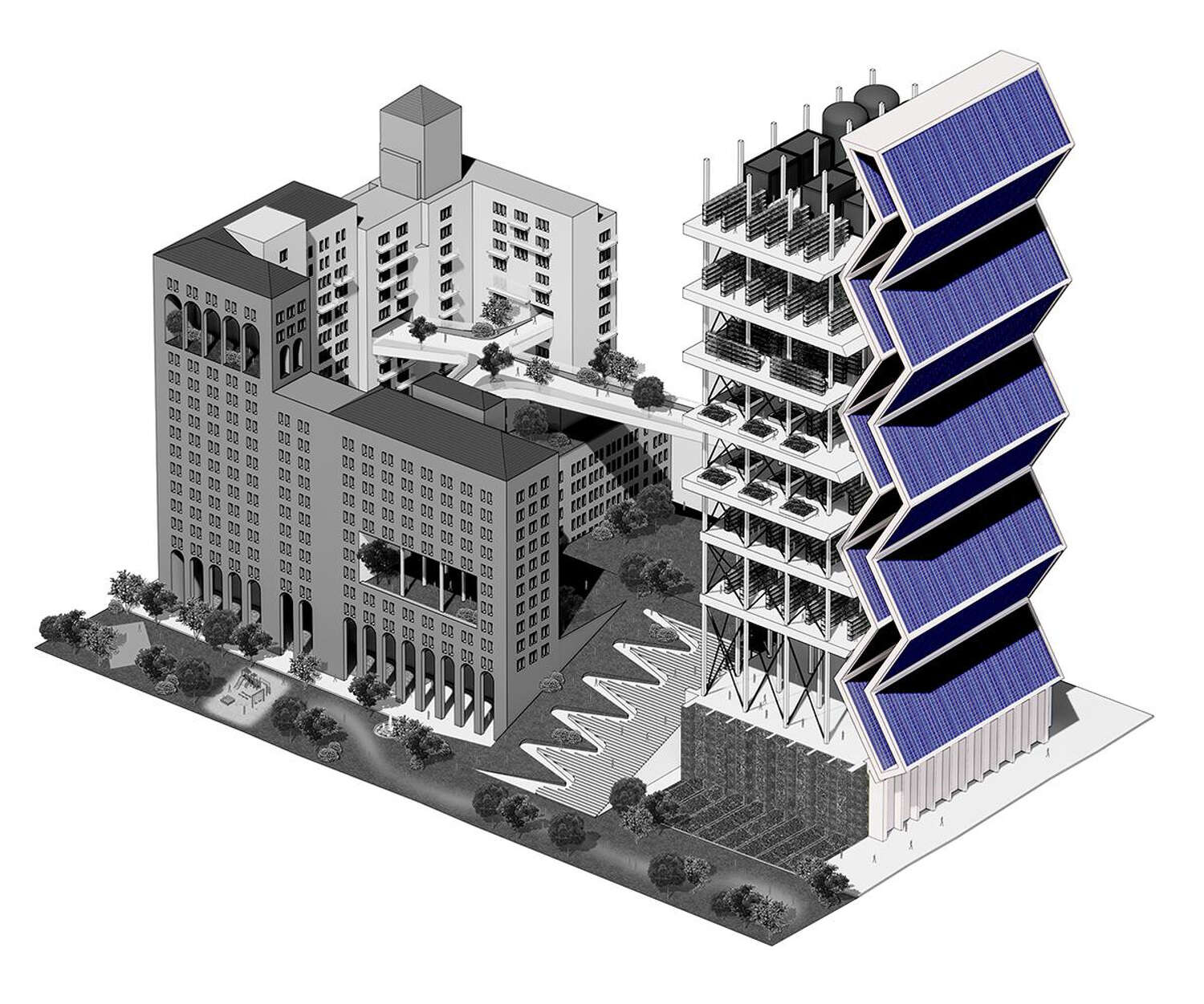 In the foreground of the rendering, the tower of solar panels is highlighted.
