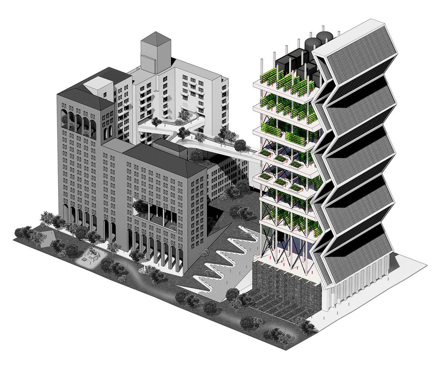 The back part of the building in the front of the rendering is highlighted.