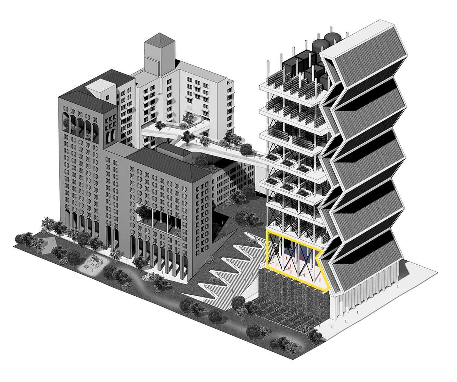 The ground floor of the building in the front of the rendering is highlighted.