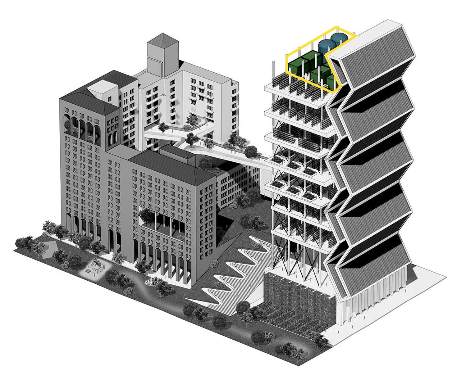 The cubic and circular shapes on the very top of the building in the front of the rendering is highlighted.