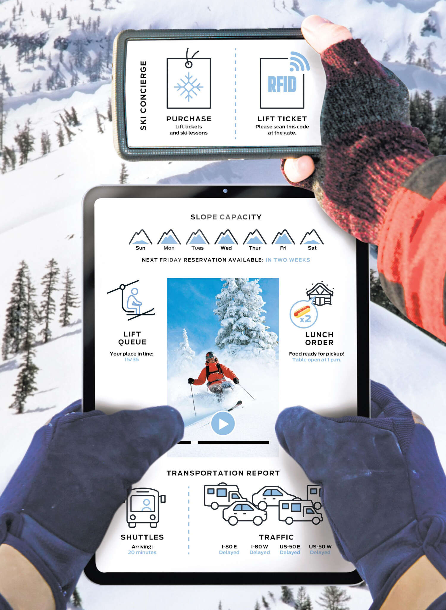 An illustration depicts a tablet and smartphone with an interface dedicated to all things skiing.