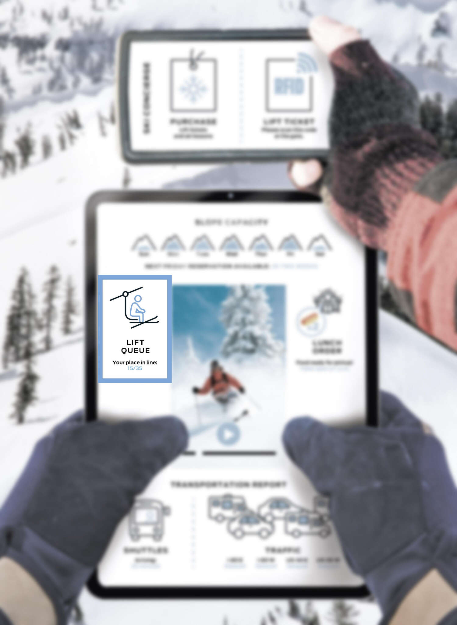 An icon of a ski lift and a skier's place in the queue is highlighted.