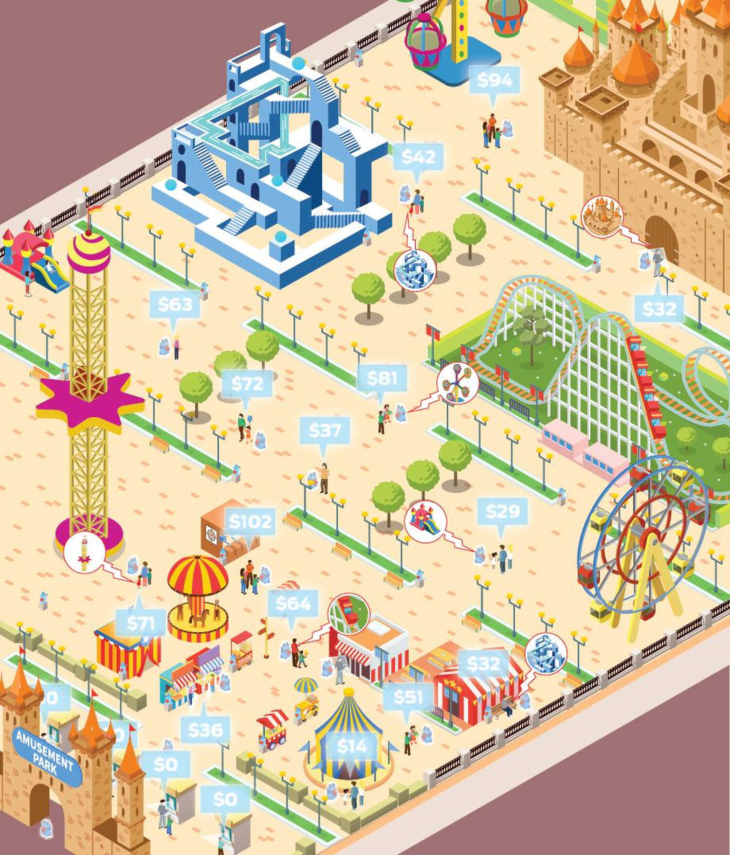 An illustration depicts a generic amusement park with new features that would make operation during a pandemic safer.
