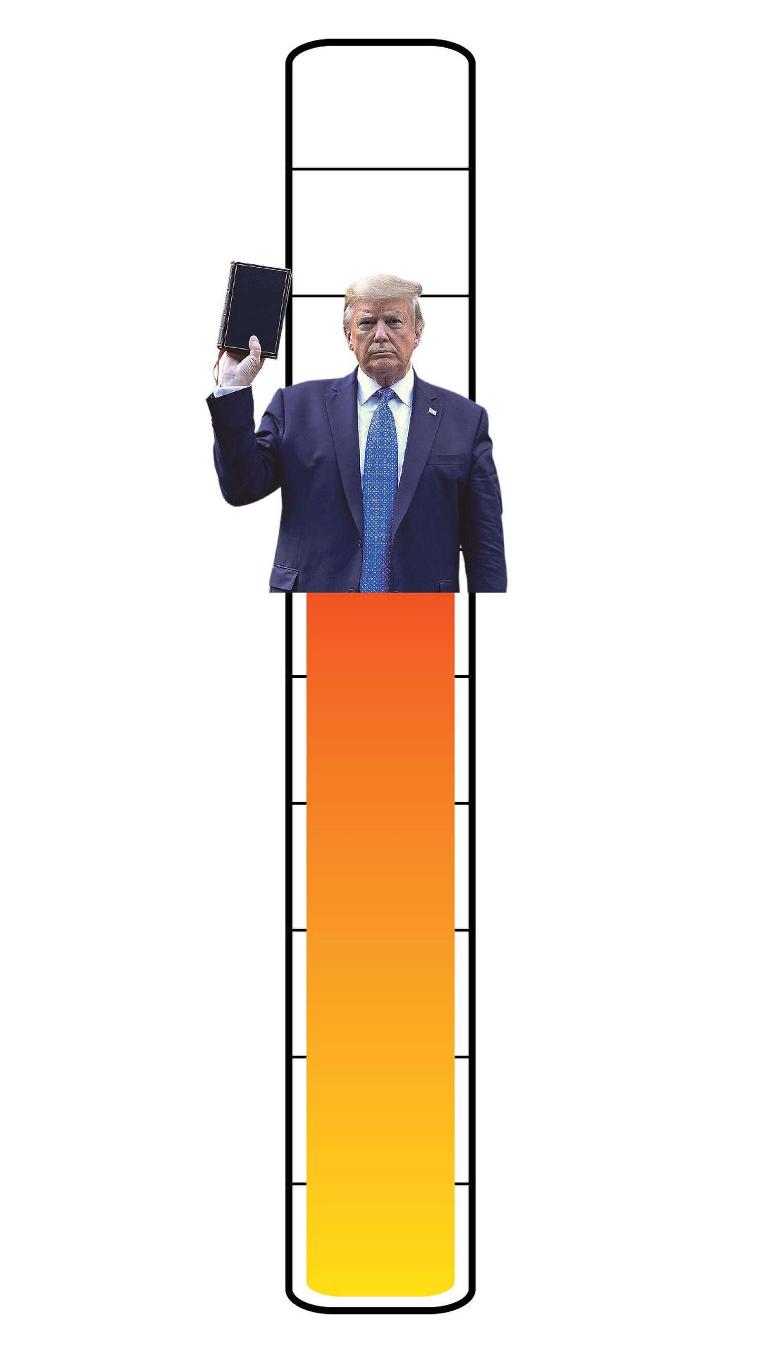 Meter: 7/10. Icon of President Donald Trump holding a bible.