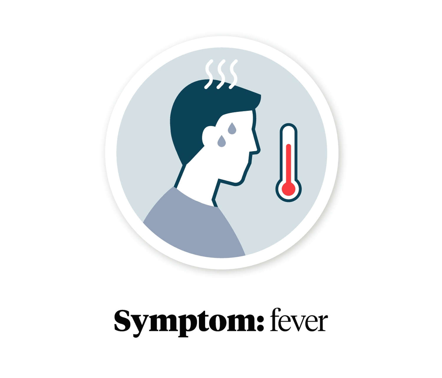 Graphic showing a person with a fever