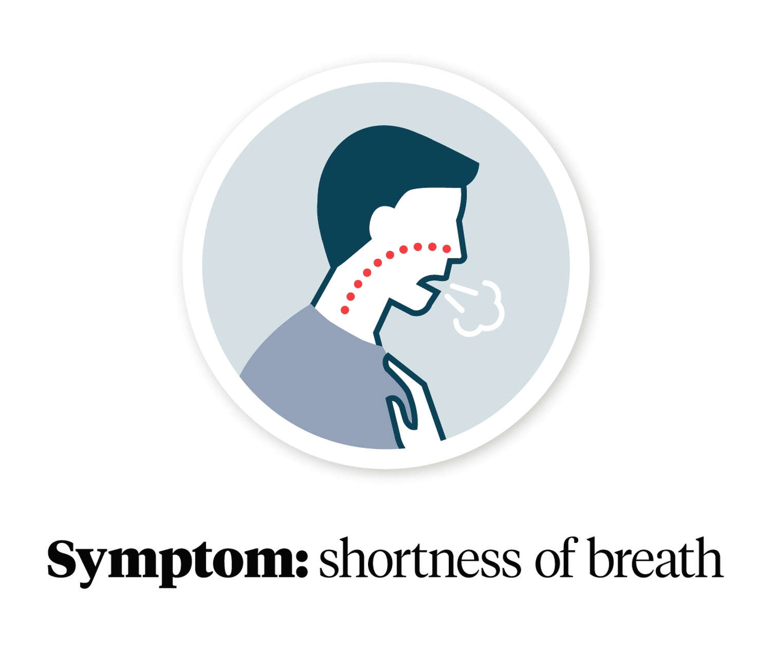 Graphic showing a person with shortness of breath