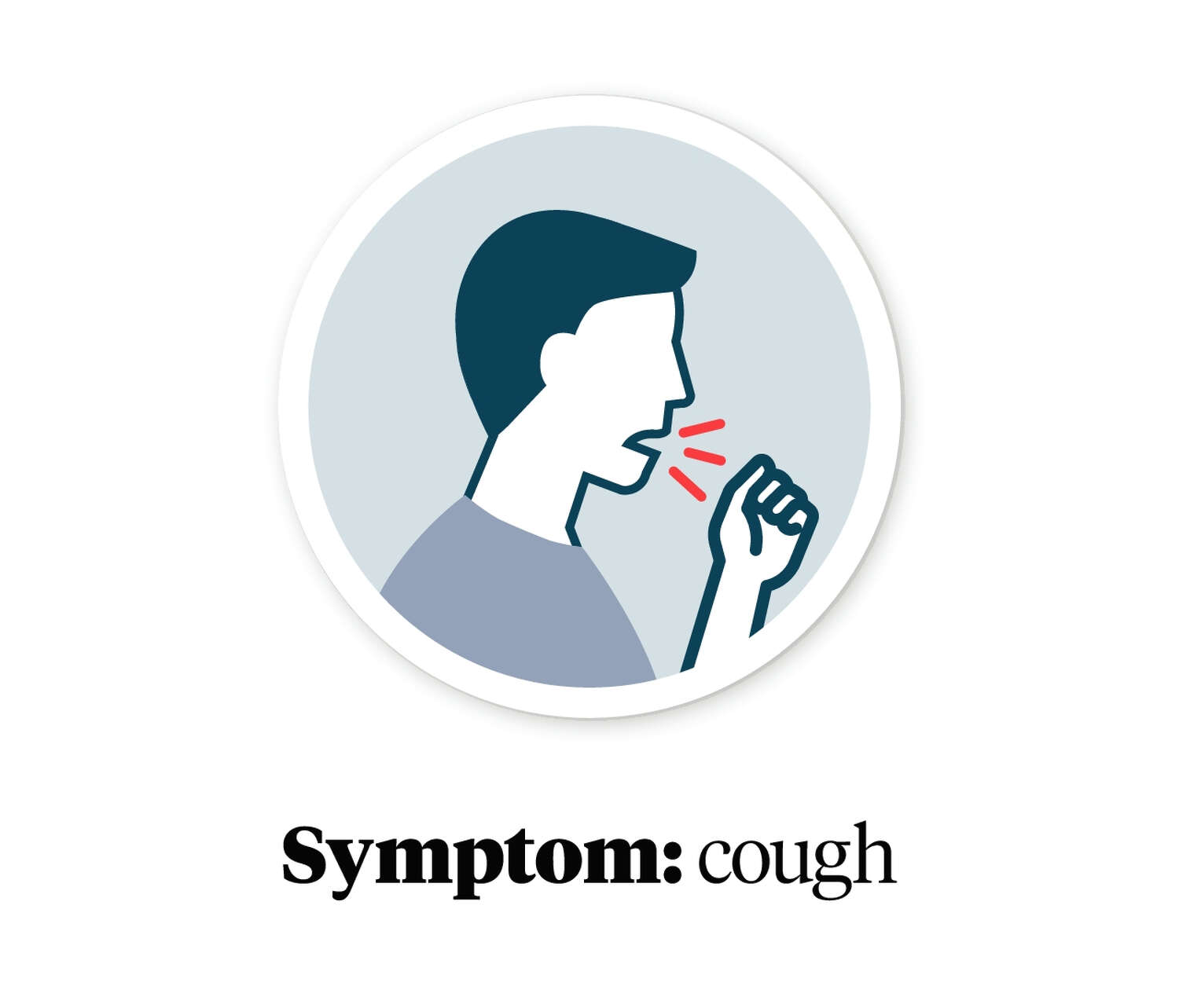 Graphic showing a person coughing