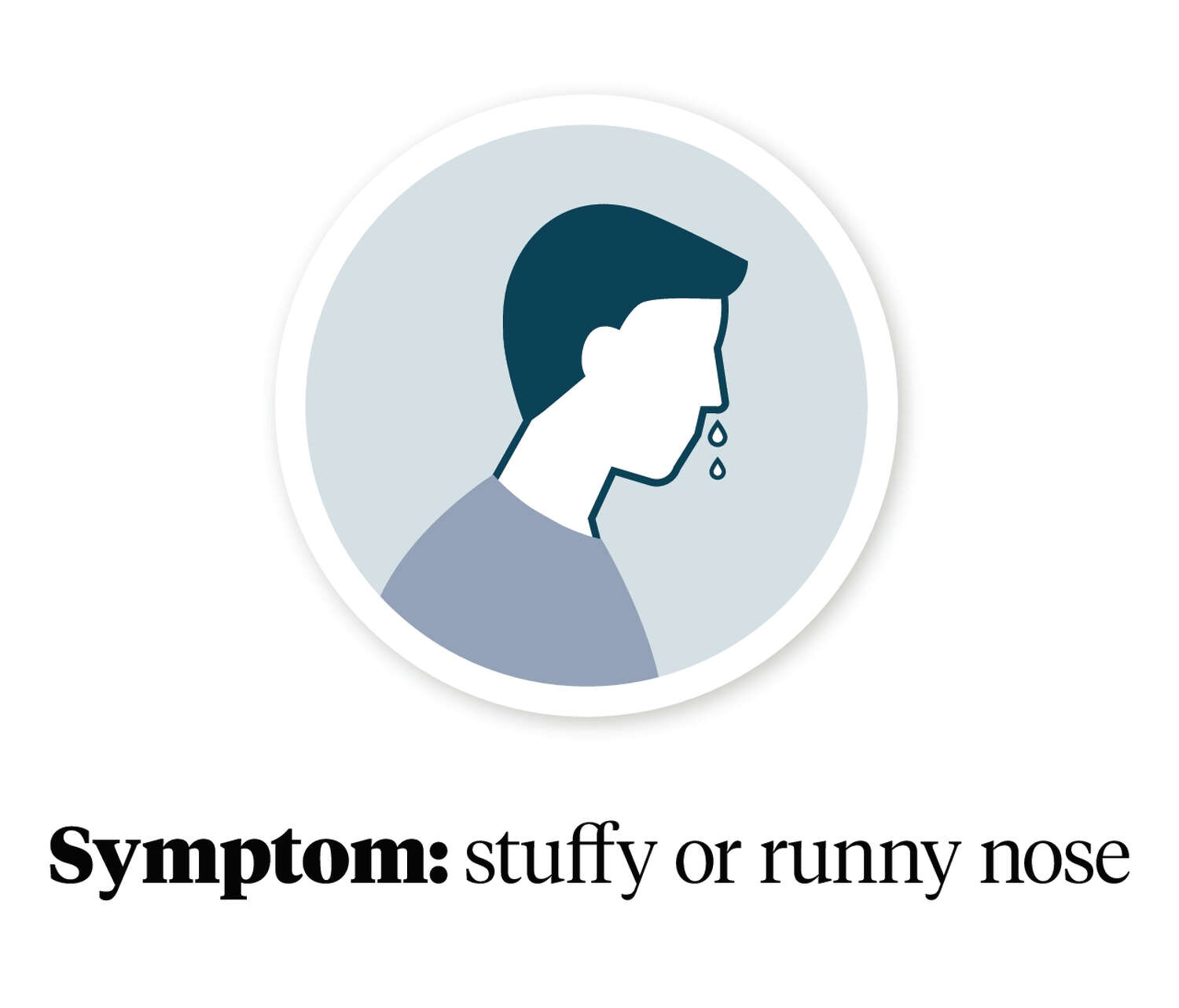Graphic showing a person with a stuffy or runny nose