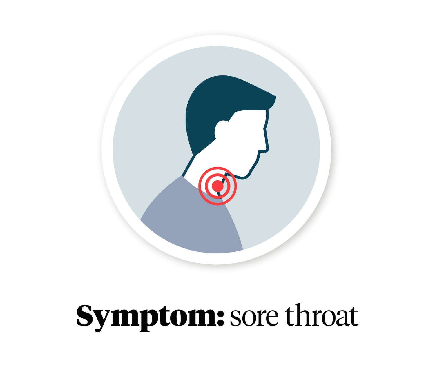 Graphic showing a person with a sore throat