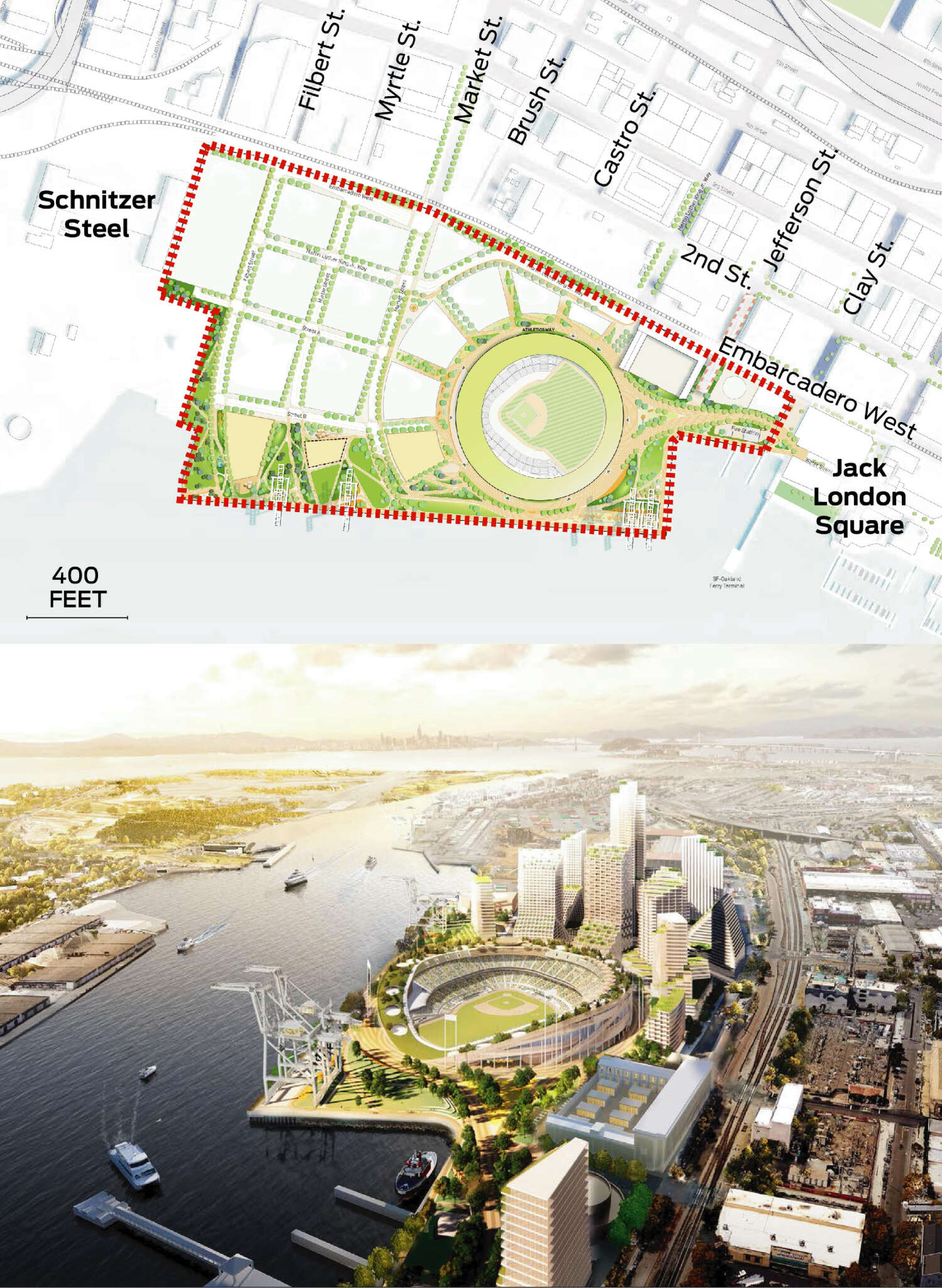 A map displays Howard Terminal and the boundaries of the A's ballpark project. A rendering shows an overall view of the proposed ballpark.
