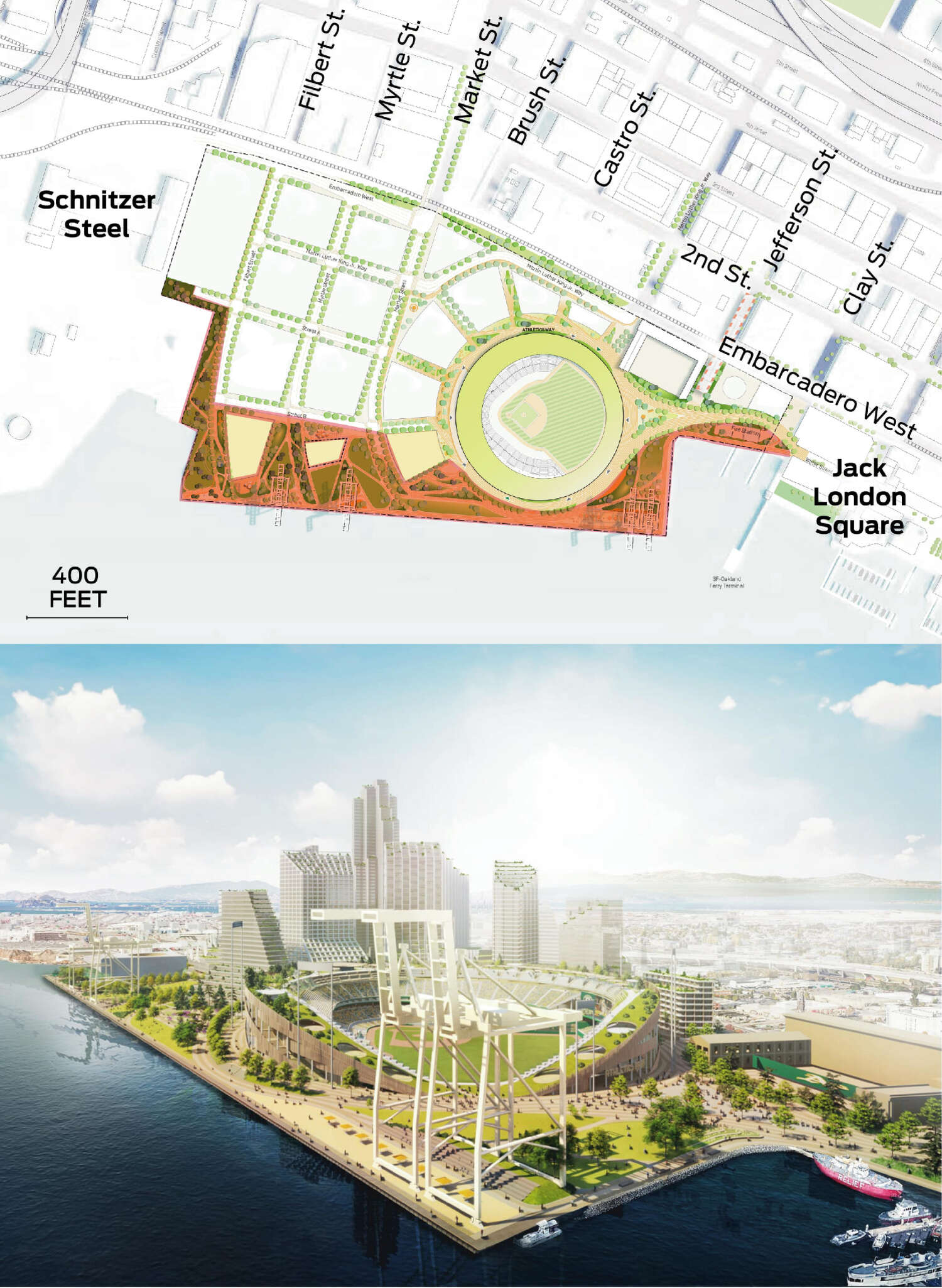 The edge of Howard Terminal bordering the water is highlighted. A rendering of the proposed Waterfront Park is shown.
