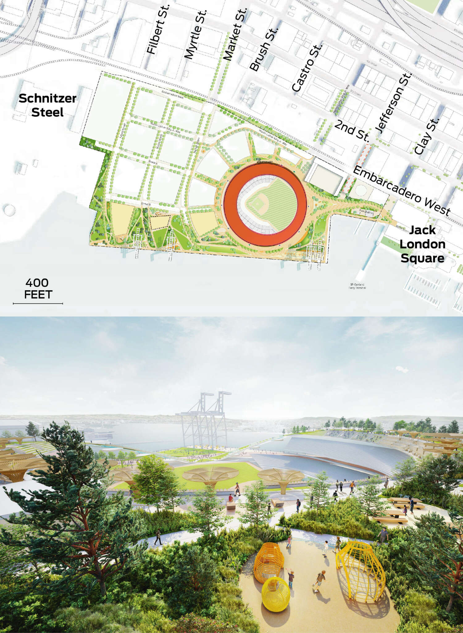 The upper area encircling the ballpark is highlighted on the map. A rendering depicts the area.