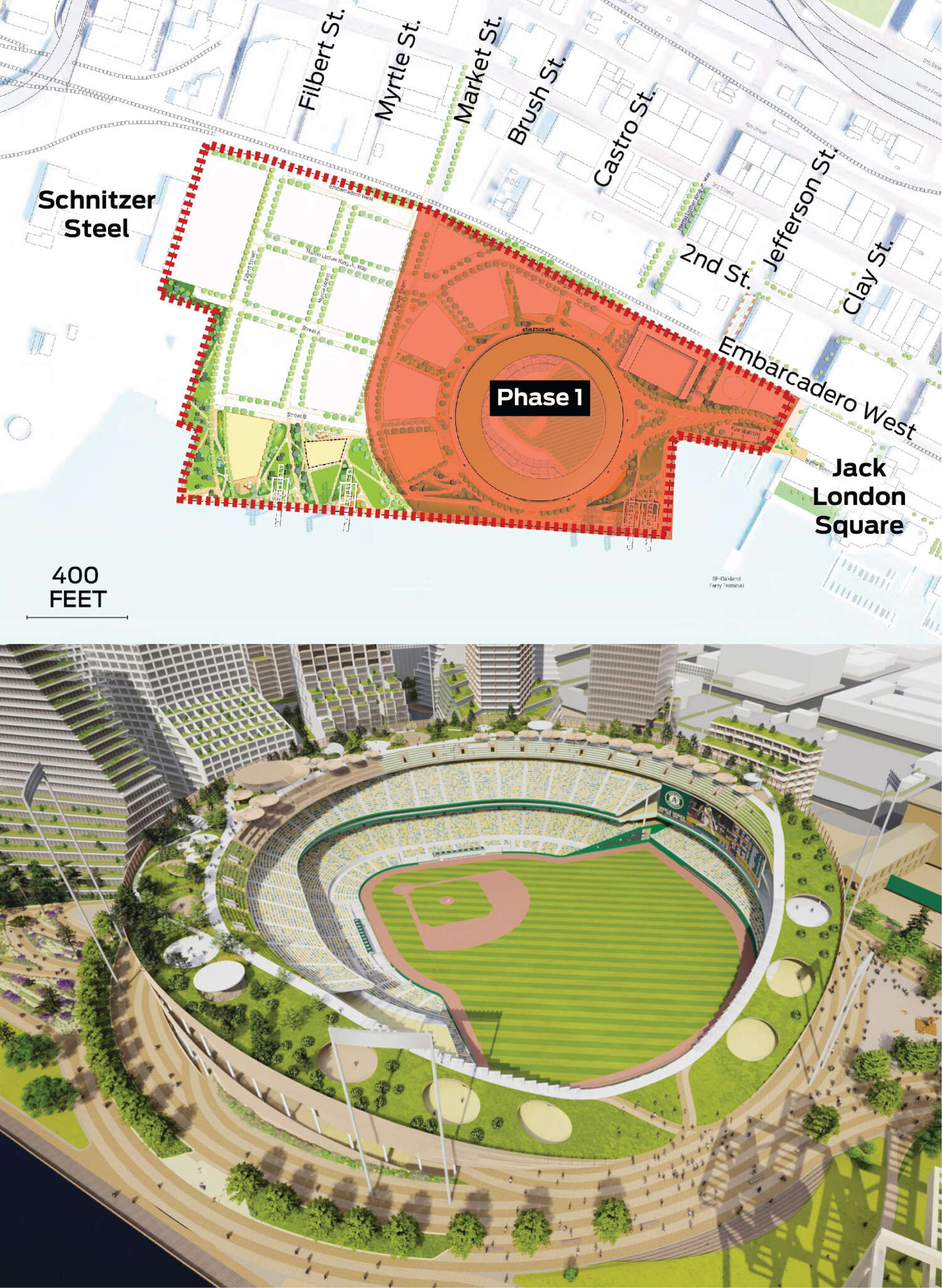 The area east of Market Street is highlighted as phase 1. A rendering focused on the ballpark is displayed.