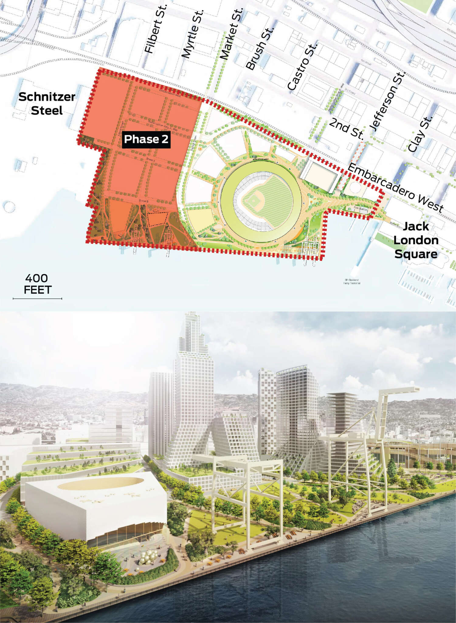 The area west of Market Street is highlighted. A rendering from a vantage on the western side of the terminal area depicts what the completed project could look like.