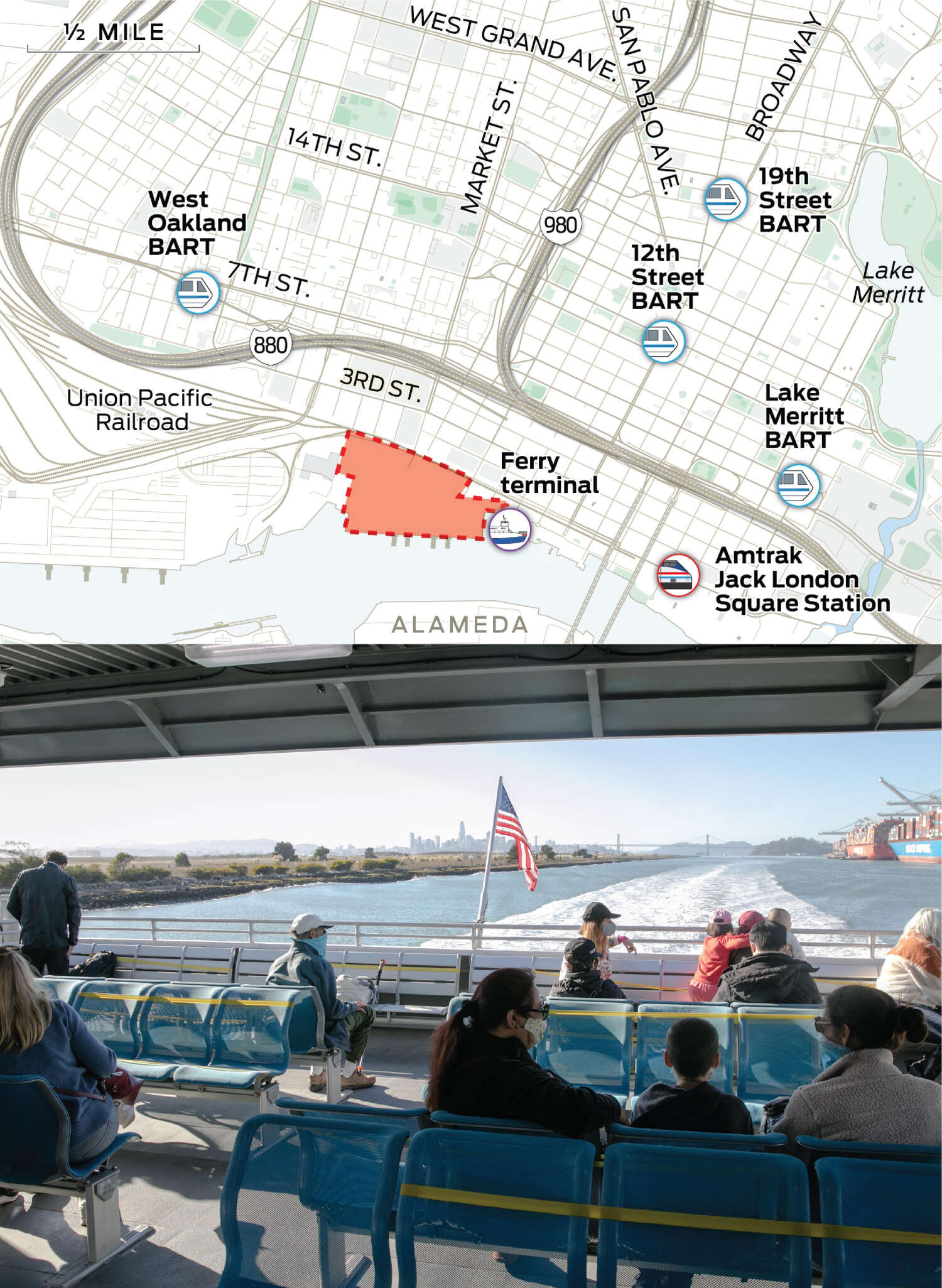 A map of a wider view of Oakland that includes West Oakland and downtown shows the locations of BART stations, the Ferry terminal and the Amtrak station.