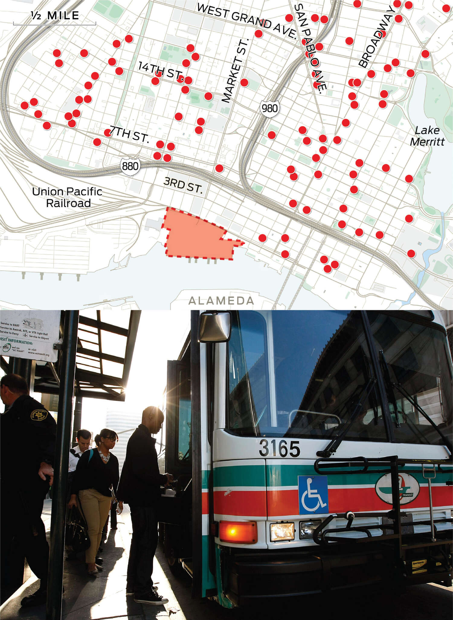 The map now plots the location of many of the AC Transit bus stops in that area.
