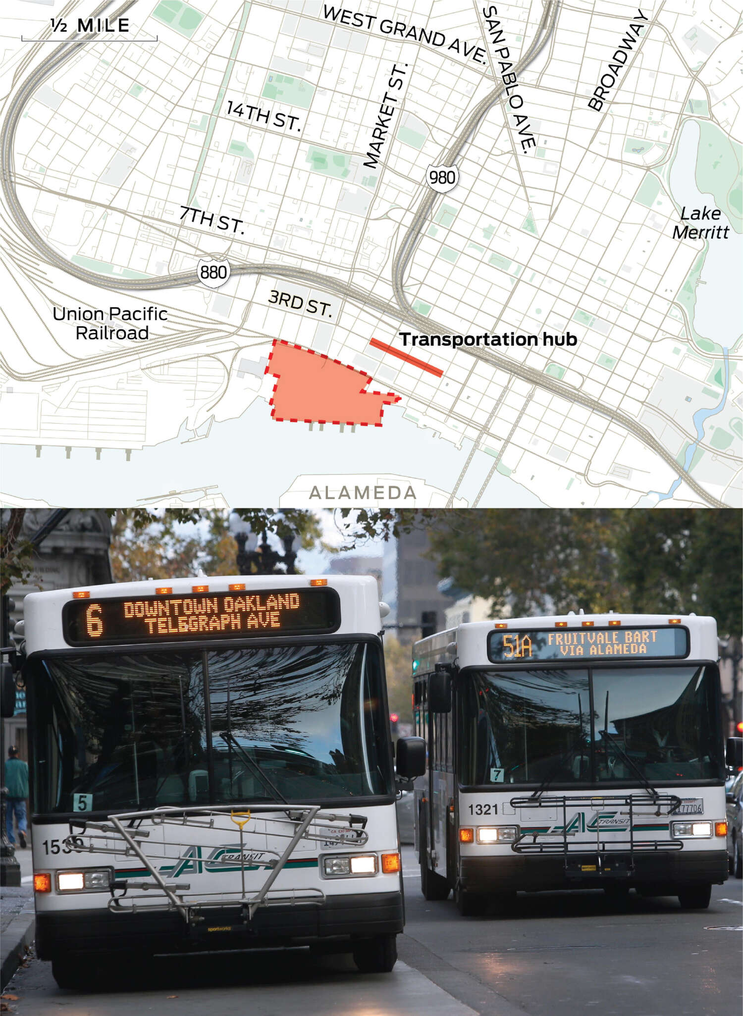 The proposed transit hub is shown on Second Street between Castro and Washington streets.