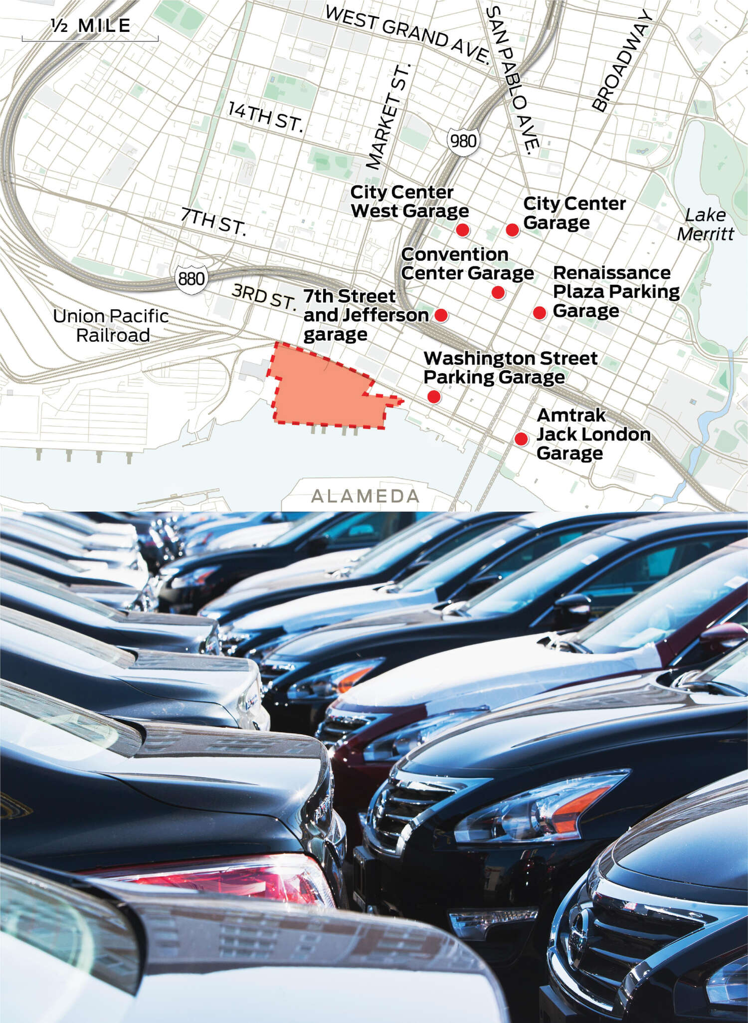 A selection of off-site parking garages near Howard Terminal is plotted on the map. A close-up of cars is shown.