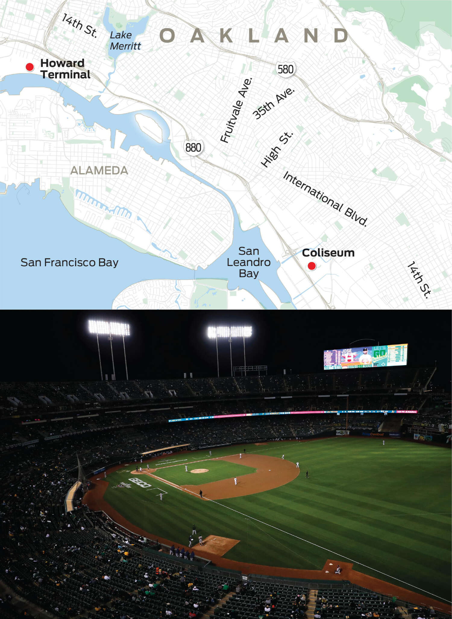 A map depicts the locations of the Oakland Coliseum and Howard Terminal above a photo of the Coliseum.
