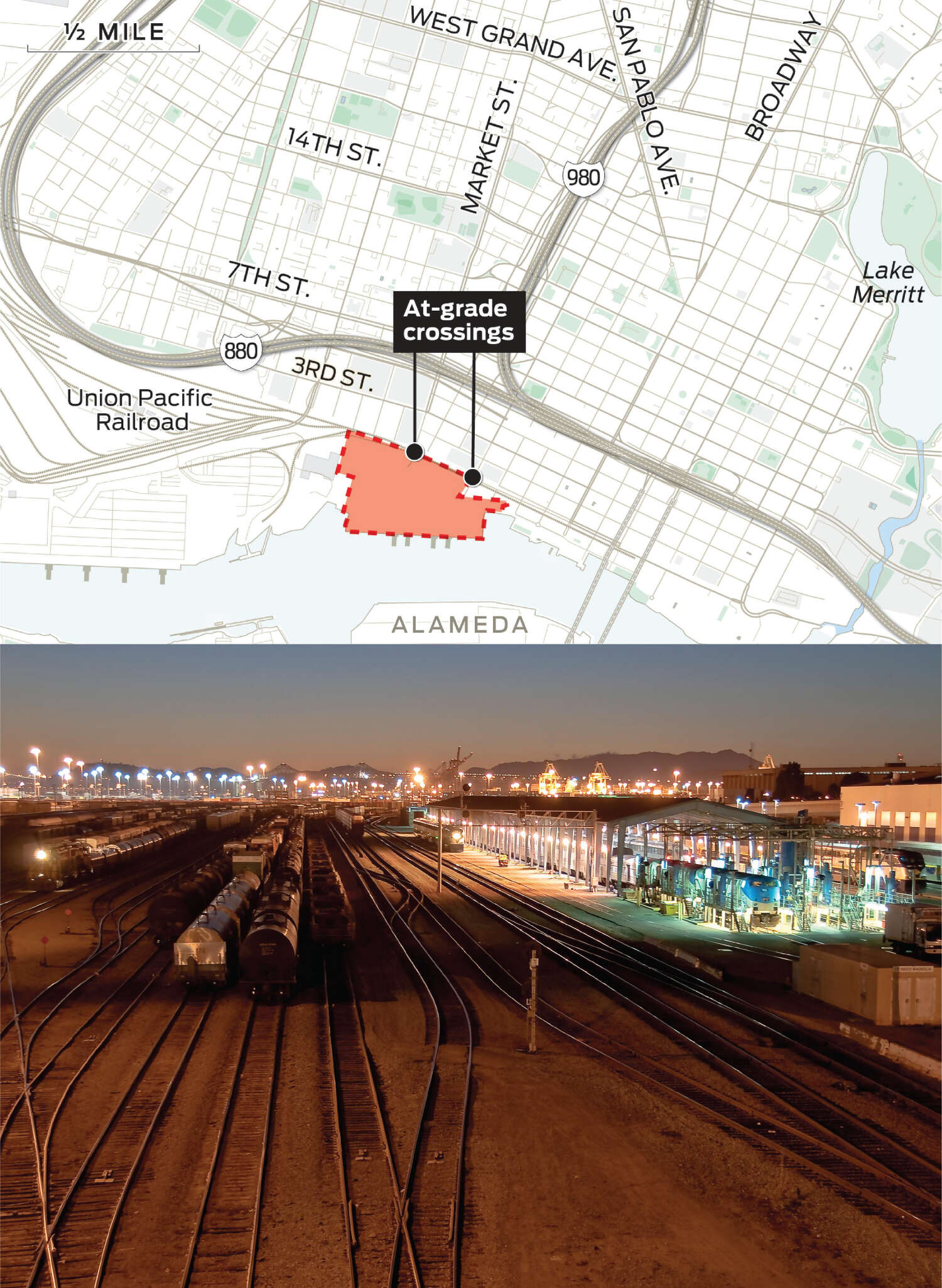 """A picture of Union Pacific Railroad's rail yard is juxtaposed with a map that shows the two Howard Terminal access points that Union Pacific deems """"critically unsafe."""""""