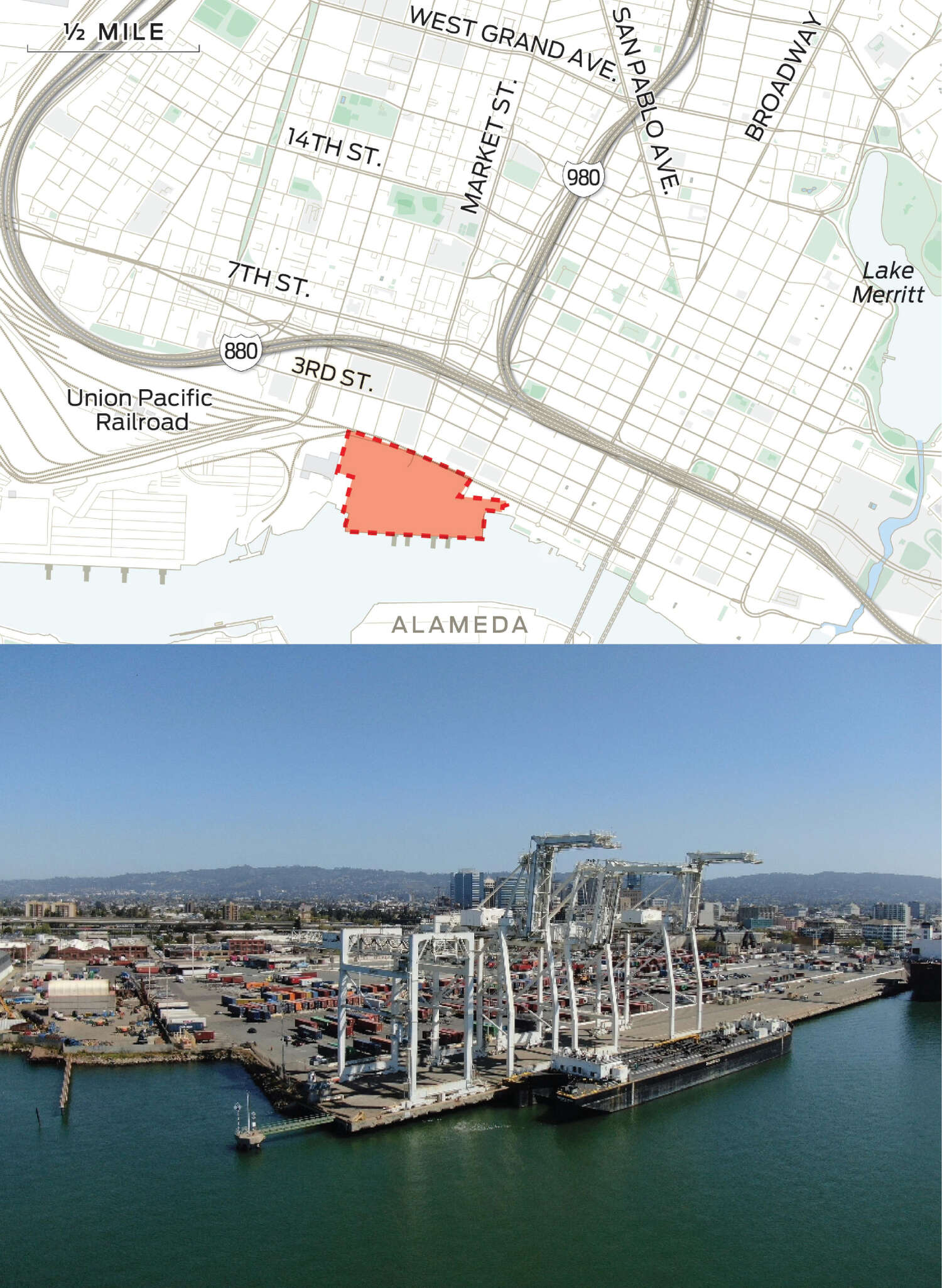 A map that depicts the location of Howard Terminal and Oakland's proposed infrastructure financing district is juxtaposed with a photo of Howard Terminal.