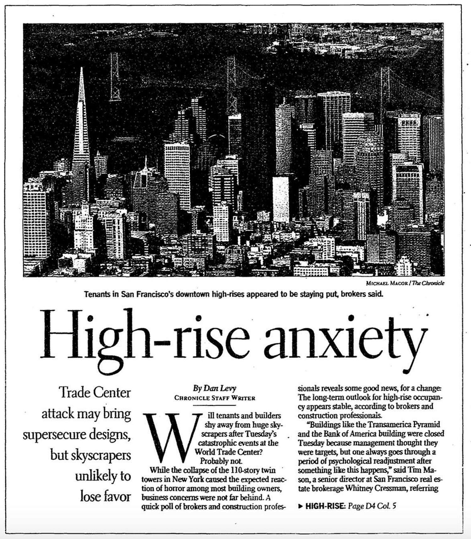 """A S.F. Chronicle newspaper article from Sept. 14, 2001 shows the San Francisco skyline with the headline """"High-rise Anxiety."""""""