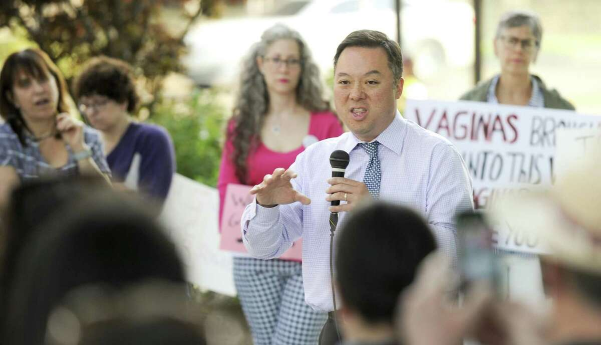 Connecticut State Attorney General William Tong addresses participants with the We Won't Go Back movement last week in Stamford.
