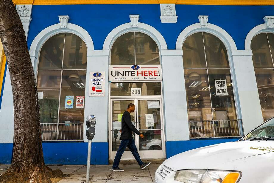 The Unite Here Local 2 union headquarters on Golden Gate Avenue is the subject of a plan to transform the dilapidated five-building complex into a 14-story residential tower for students from several universities. Photo: Photos By Gabrielle Lurie / The Chronicle