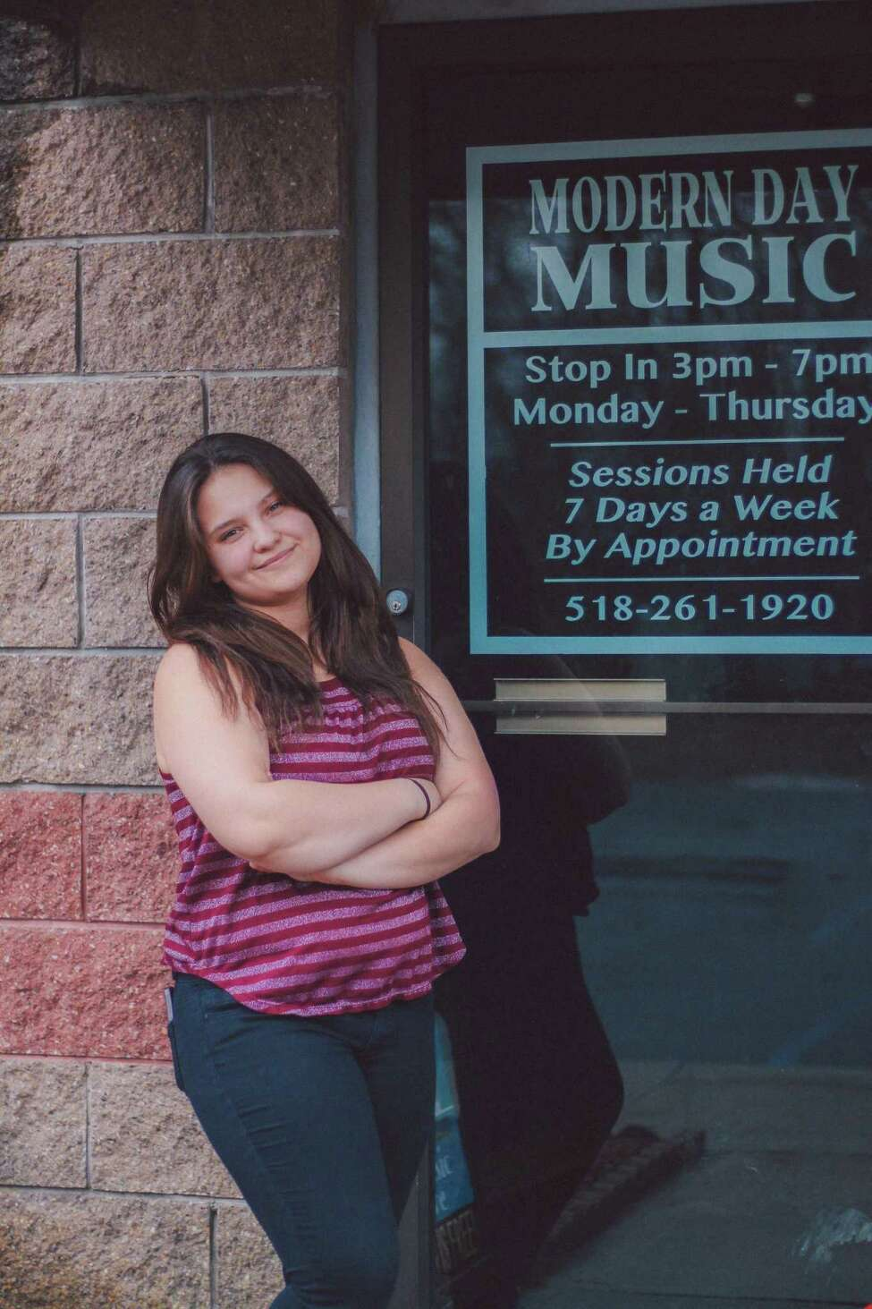 American Idol finalist Madison VanDenburg stopped by Modern Day Music School, where she has trained since 2015, on a recent visit home while competing on the ABC talent show in an undated photo in Clifton Park, N.Y.