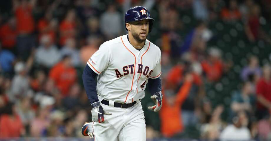 George Springer leads the American League with 17 home runs, 42 RBI and trails only Rangers slugger Joey Gallo for the OPS lead. Photo: Steve Gonzales/Staff Photographer