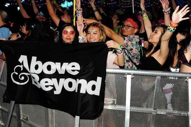 Audience reacts to Above and Beyond's performance at the Electric Daisy Carnival Las Vegas 2019 at the Las Vegas Motor Speedway on May 18, 2019 in Las Vegas, Nevada.