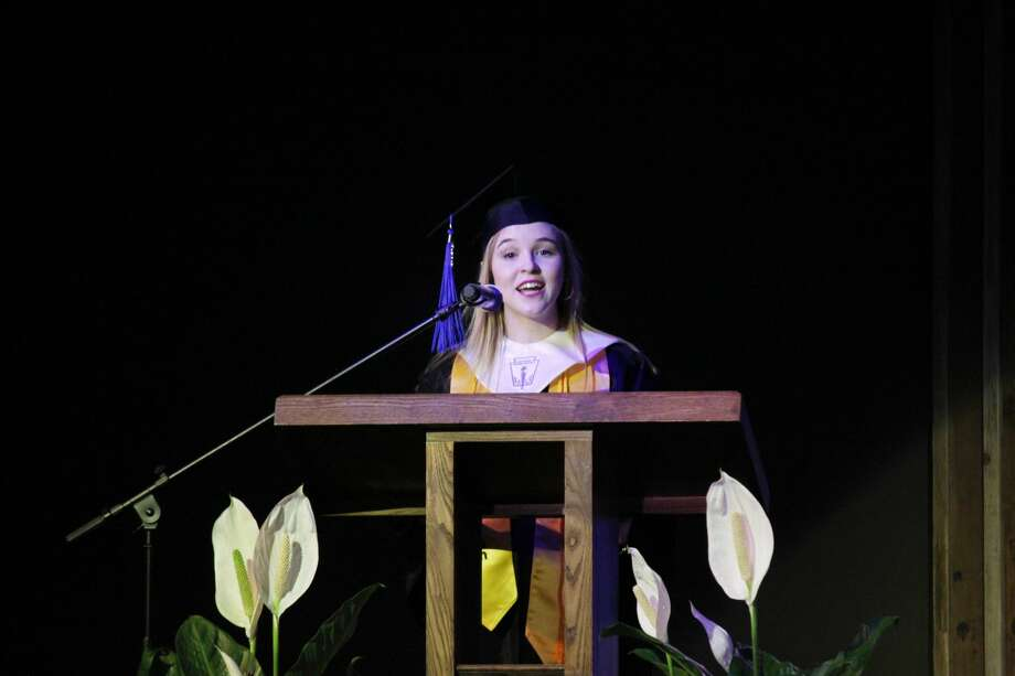 Sarah Grace Shaw gives her valedictorian speech at Saturday's PCA commencement ceremony. Photo: Alex Driggars/For The Herald
